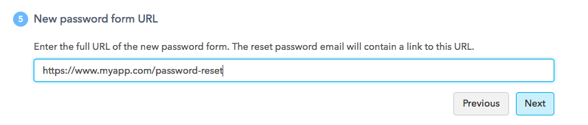 Password Reset URL UI